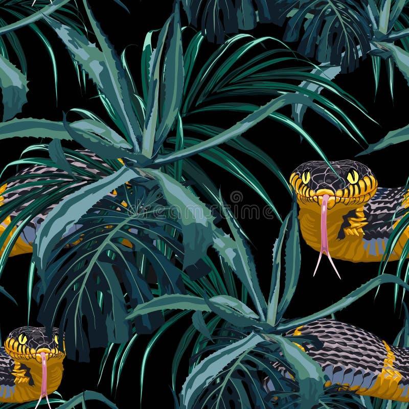 Modelo inconsútil con las serpientes amarillas y las plantas tropicales azules ilustración del vector