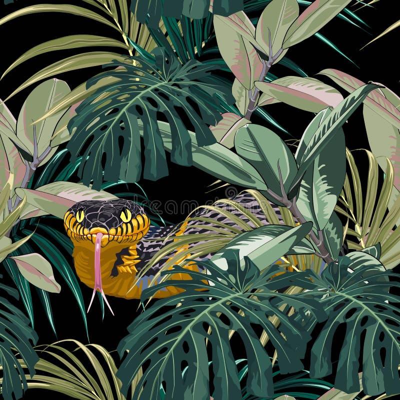Modelo inconsútil con las serpientes amarillas y las plantas tropicales azules: monstera, ficus, hojas de palma stock de ilustración