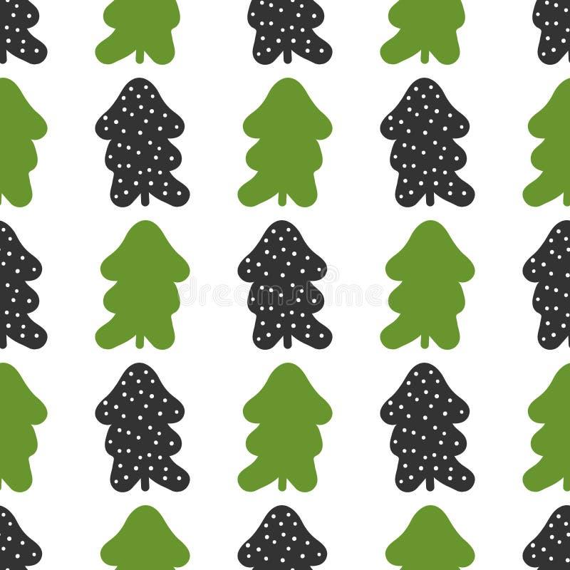 Modelo inconsútil con las siluetas de árboles de navidad y de copos de nieve redondos libre illustration
