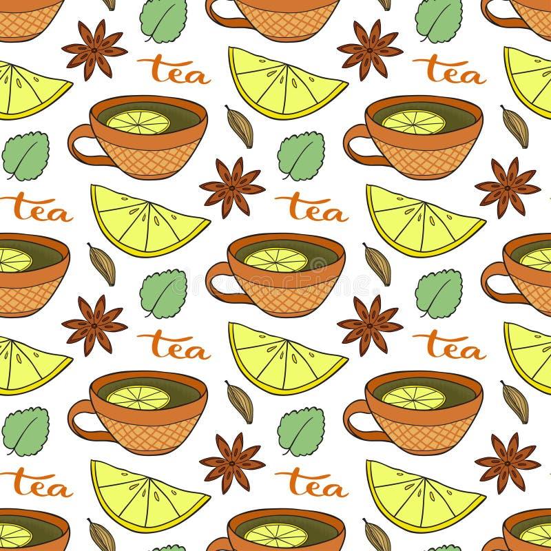 Modelo inconsútil con las tazas de té, los limones y picante en el fondo blanco Ejemplo del vector para el menú y el diseño de em ilustración del vector