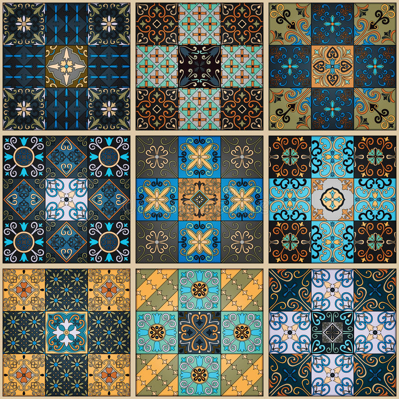 Modelo inconsútil con las tejas portuguesas en el estilo de Talavera Azulejo, marroquí, ornamentos mexicanos ilustración del vector