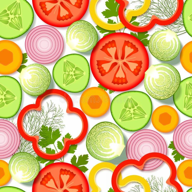 Modelo inconsútil con las verduras y los verdes stock de ilustración