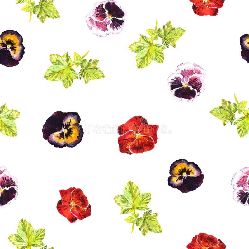 Modelo inconsútil con las violetas pintadas a mano del rosa del watercolour, púrpuras, rojas y las hojas ilustración del vector