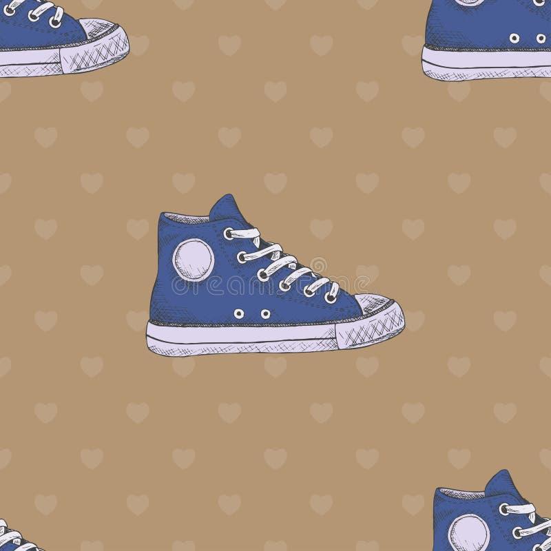 Modelo inconsútil con las zapatillas de deporte azules Ilustración drenada mano ilustración del vector