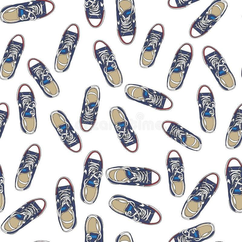 Modelo inconsútil con las zapatillas de deporte en el fondo blanco Para la tarjeta de felicitación, el cartel, o la impresión en  fotografía de archivo
