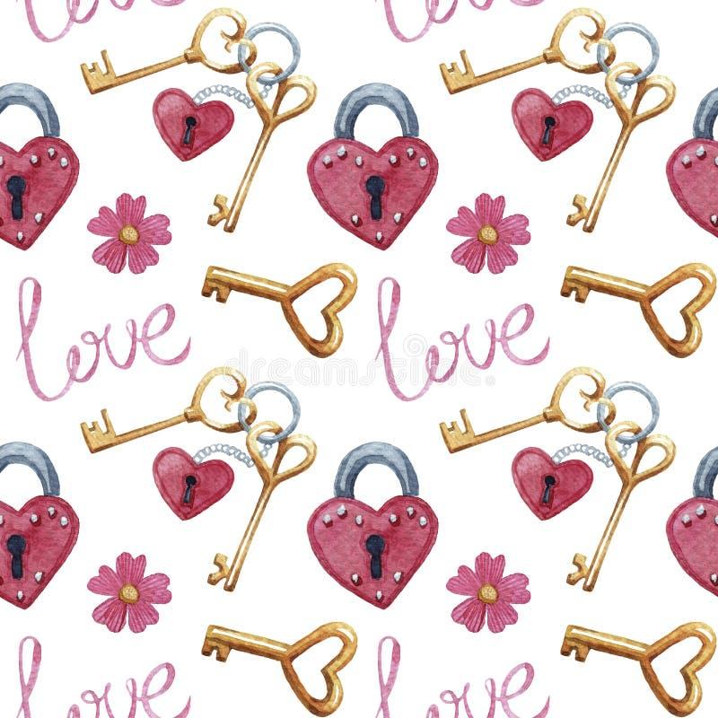 Modelo inconsútil con llaves, cerradura, amor de la acuarela stock de ilustración