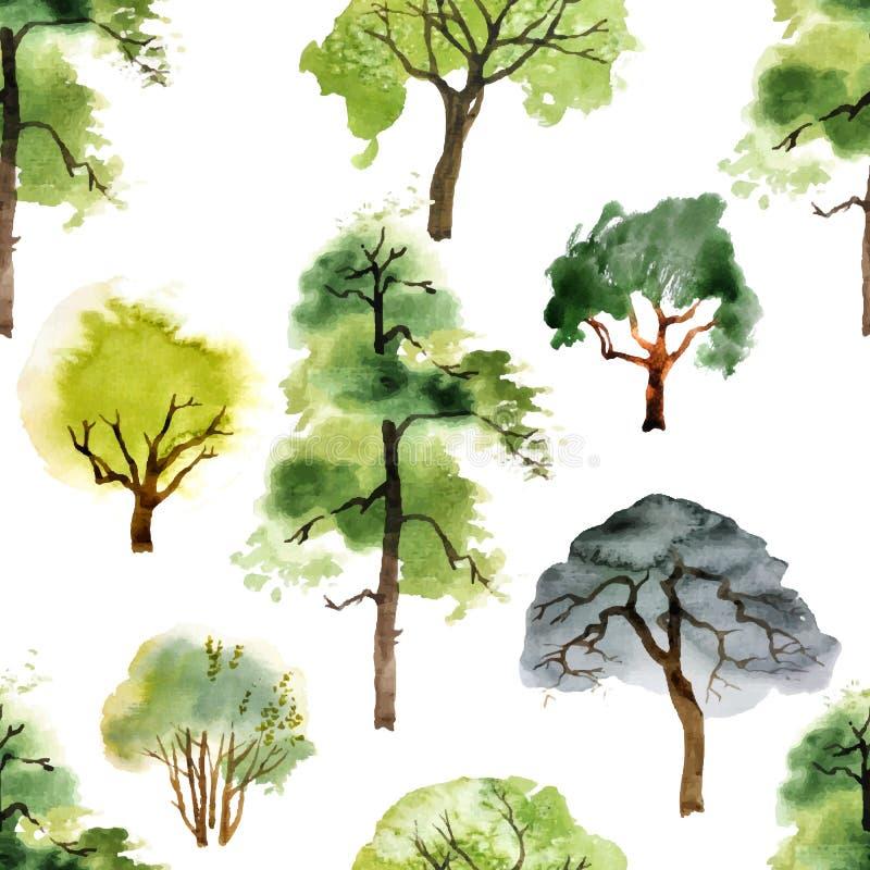 Modelo inconsútil con los árboles de la acuarela stock de ilustración