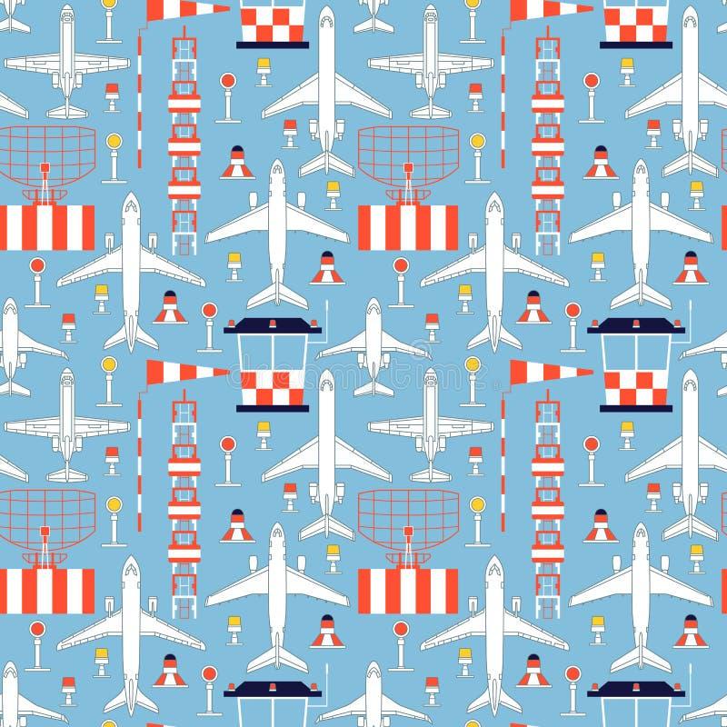 Modelo inconsútil con los aeroplanos del pasajero y faciliti del aeródromo stock de ilustración