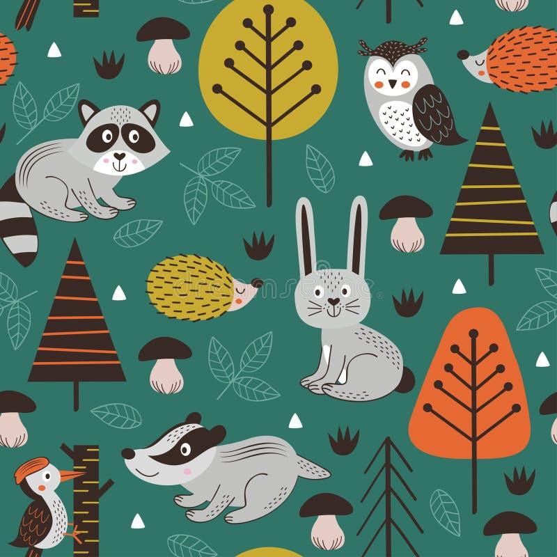 Modelo inconsútil con los animales del bosque en estilo verde del escandinavo del fondo libre illustration