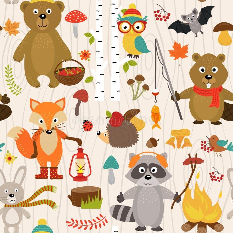 Modelo inconsútil con los animales del bosque en fondo beige stock de ilustración