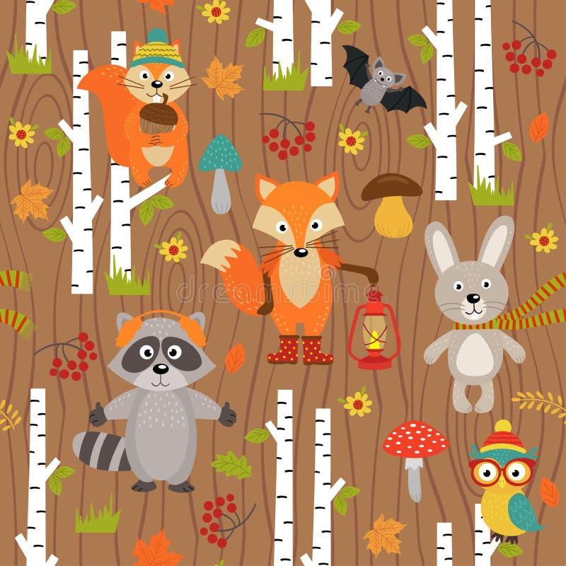 Modelo inconsútil con los animales del bosque en fondo marrón ilustración del vector
