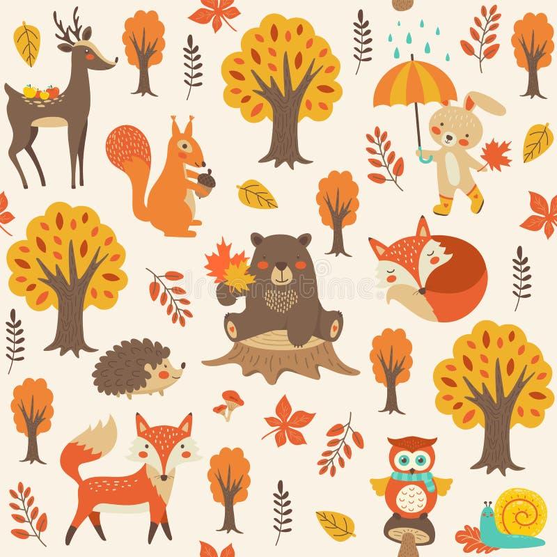 Modelo inconsútil con los animales del bosque Oso, zorro, ardilla, búho, stock de ilustración