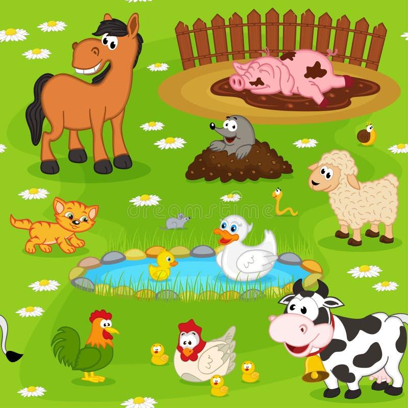 Modelo inconsútil con los animales del campo stock de ilustración