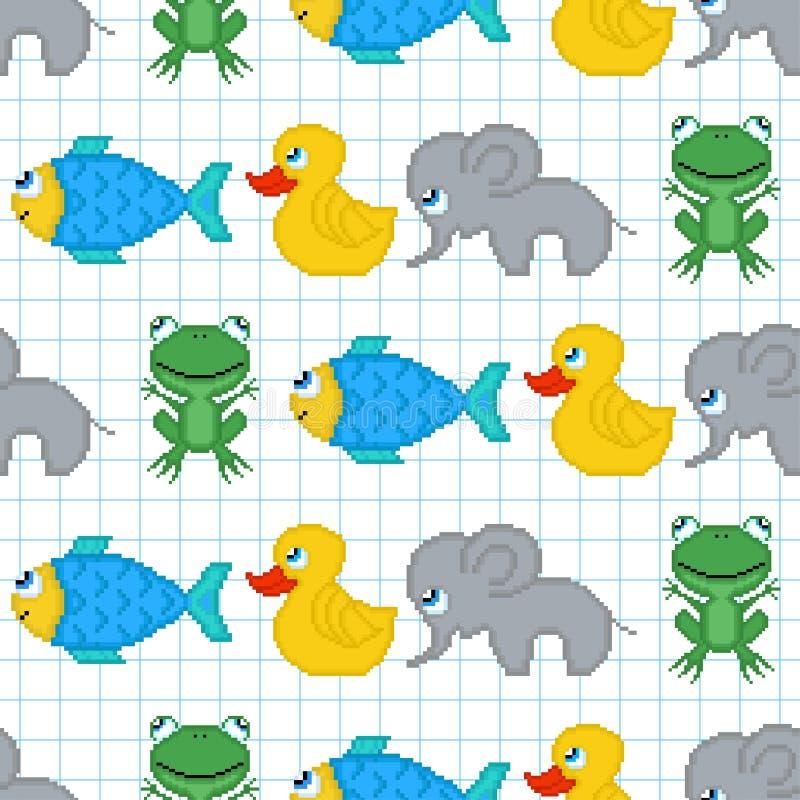 Modelo inconsútil con los animales del pixel libre illustration
