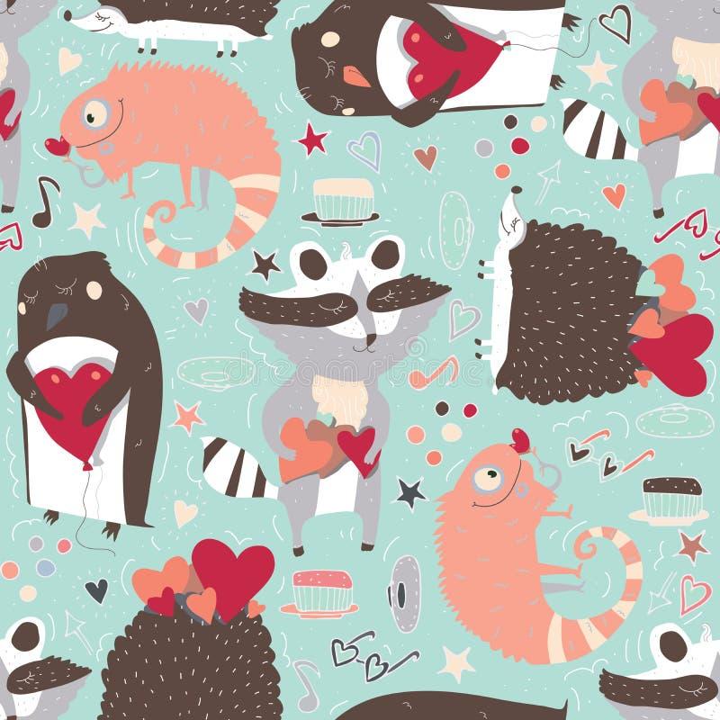 Modelo inconsútil con los animales lindos tales como mapache, iguana y erizo y pingüino con los corazones, adornados con la estre ilustración del vector