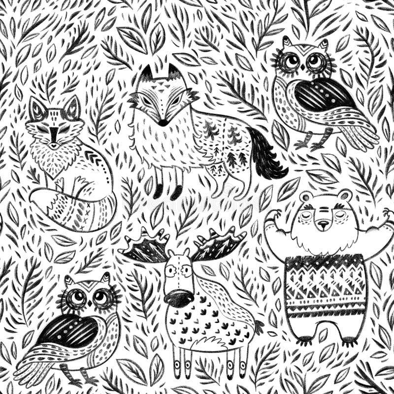 Modelo inconsútil con los animales tribales del bosque en lápiz y carbón de leña en el papel stock de ilustración
