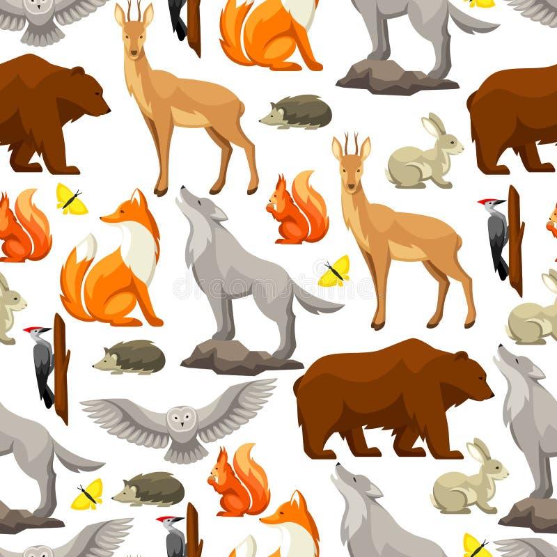 Modelo inconsútil con los animales y los pájaros del bosque del arbolado Ilustración estilizada stock de ilustración