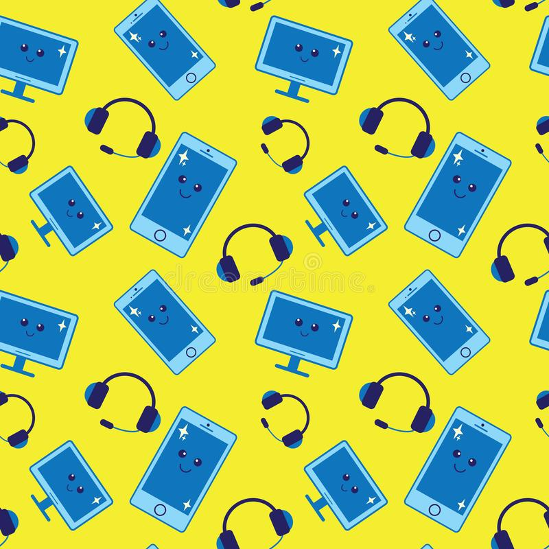 Modelo inconsútil con los artilugios: teléfonos, auriculares y monitores libre illustration