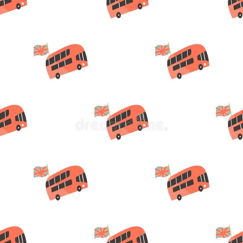 Modelo inconsútil con los autobuses de dos plantas de Londres libre illustration