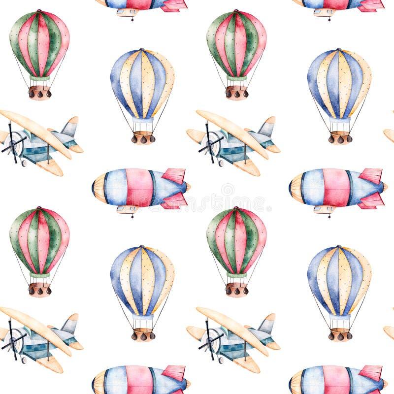Modelo inconsútil con los balones de aire, el dirigible y el avión en colores en colores pastel ilustración del vector