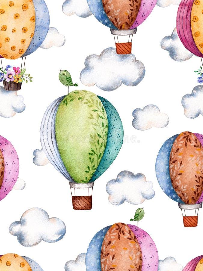 Modelo inconsútil con los balones y las nubes de aire en colores en colores pastel stock de ilustración