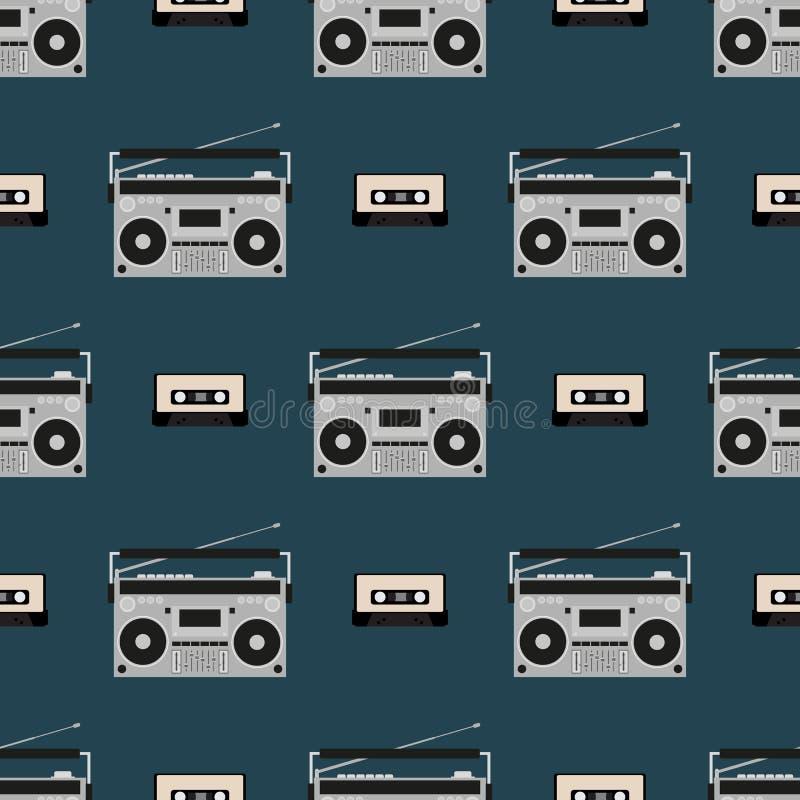 Modelo incons?til con los boomboxes y los casetes de cinta viejos Impresi?n de la m?sica del vintage Ilustraci?n retra del vector libre illustration