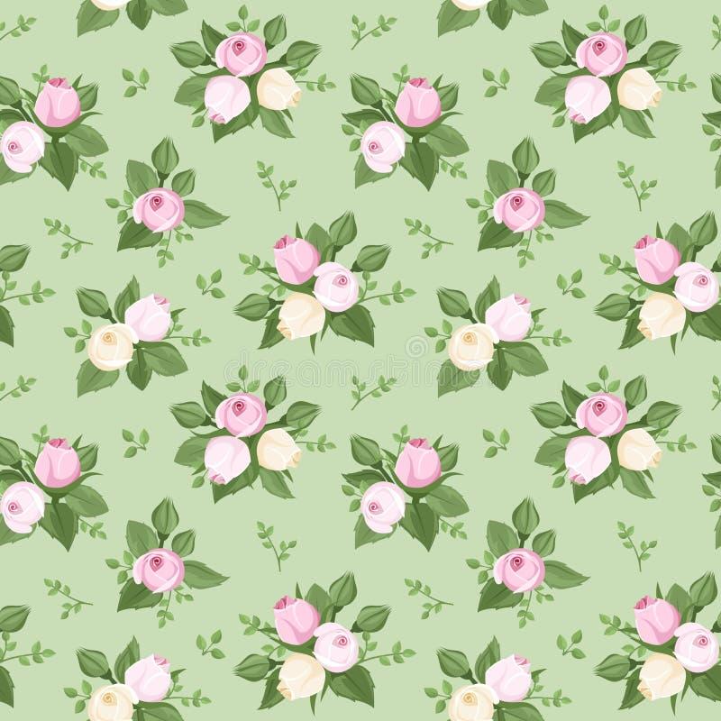 Modelo inconsútil con los brotes y las hojas color de rosa en verde. ilustración del vector