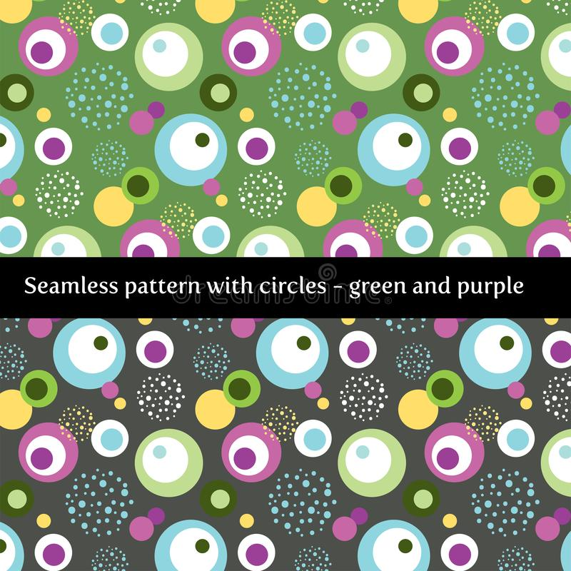 Modelo inconsútil con los círculos en verde y púrpura libre illustration