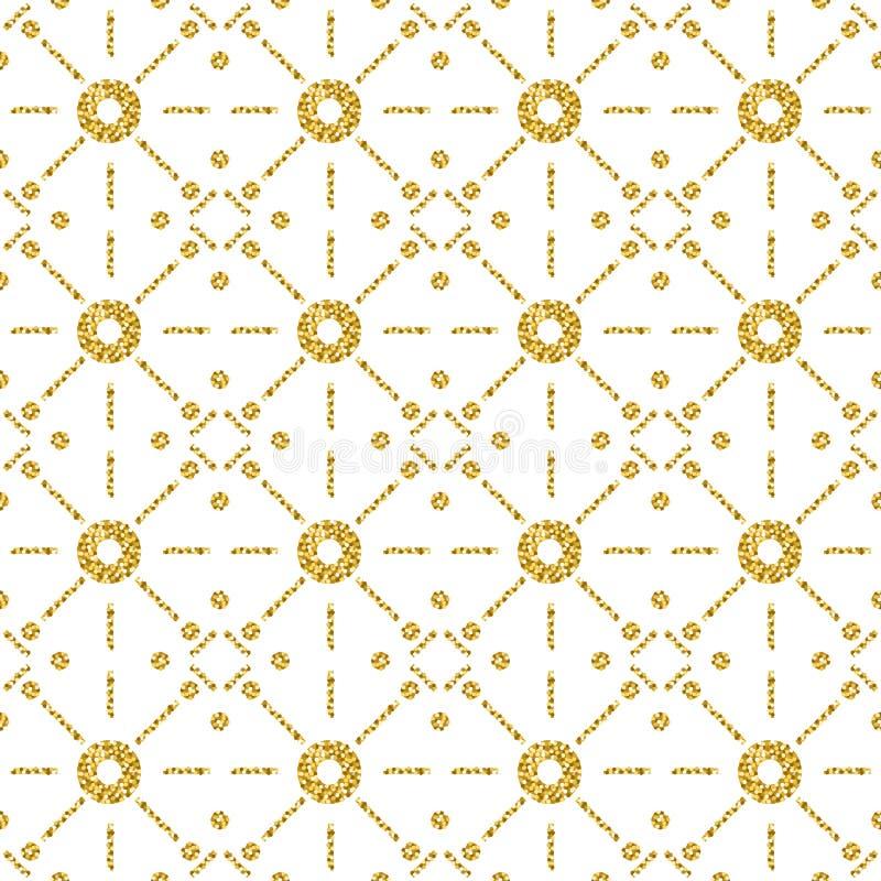 Modelo inconsútil con los círculos que brillan de oro Modelo inconsútil del oro Diseño repetible Puede ser utilizado para la tela libre illustration
