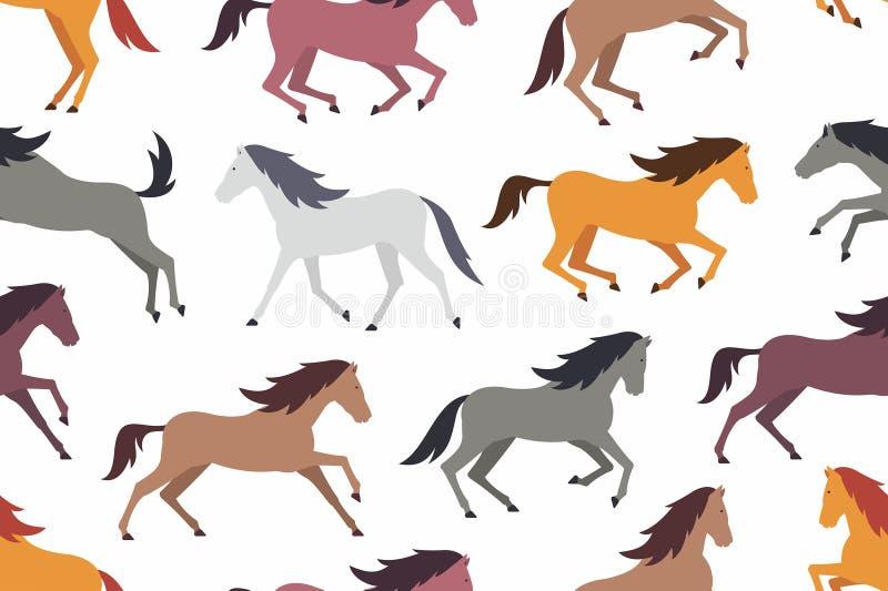 Modelo inconsútil con los caballos coloridos libre illustration