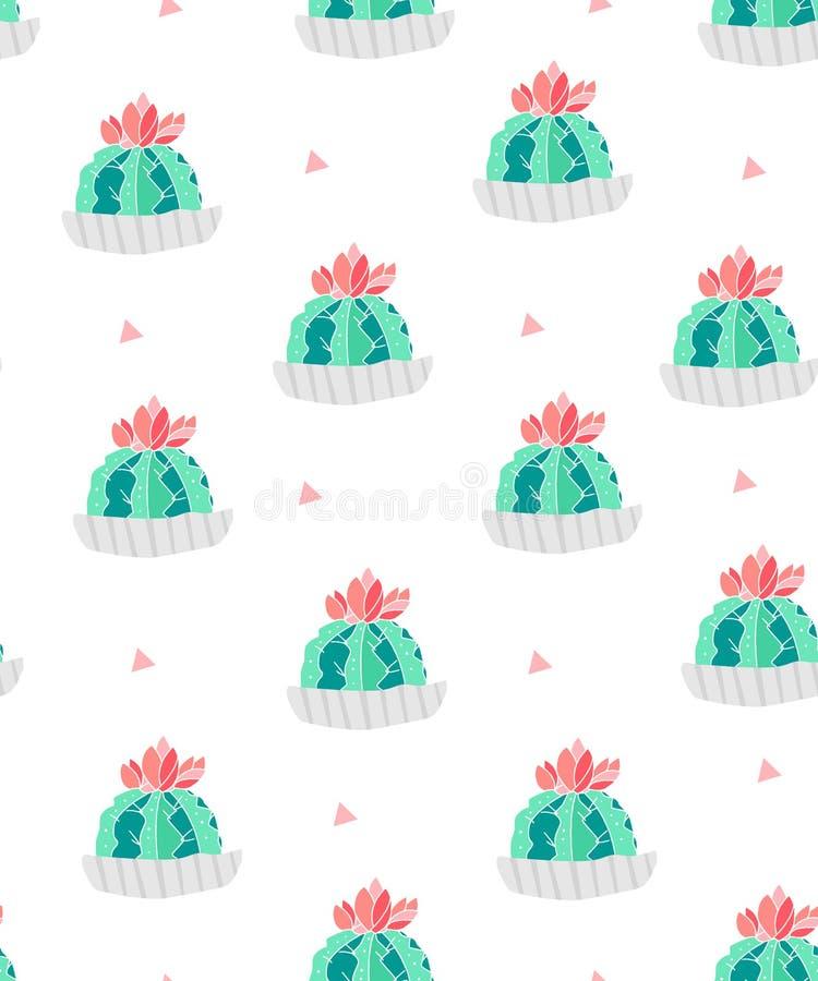 Modelo inconsútil con los cactus en macetas y triángulos rosados en el fondo blanco Ornamento para la materia textil y envolver V libre illustration