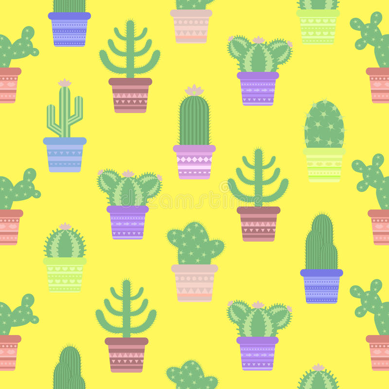 Modelo inconsútil con los cactus en un pote Icono de la flor del cactus ilustración del vector