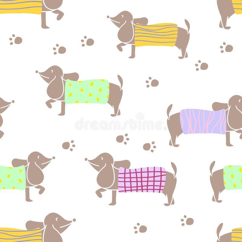 Modelo inconsútil con los caracteres del perro basset que llevan el suéter del punto de diversos modelos Diseño plano del ejemplo ilustración del vector
