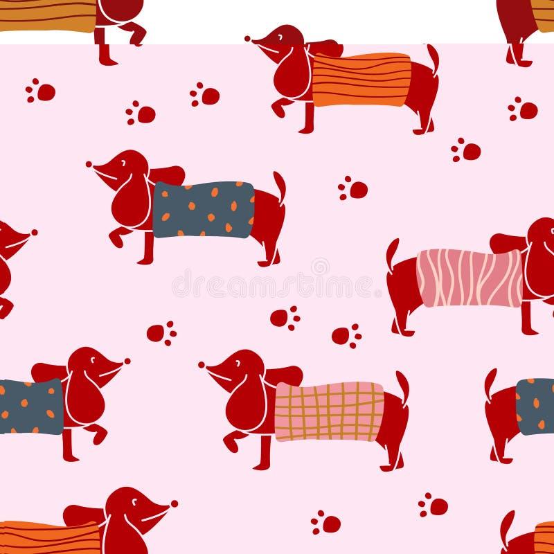 Modelo inconsútil con los caracteres del perro basset que llevan el suéter del punto de diversos modelos Diseño plano del ejemplo stock de ilustración