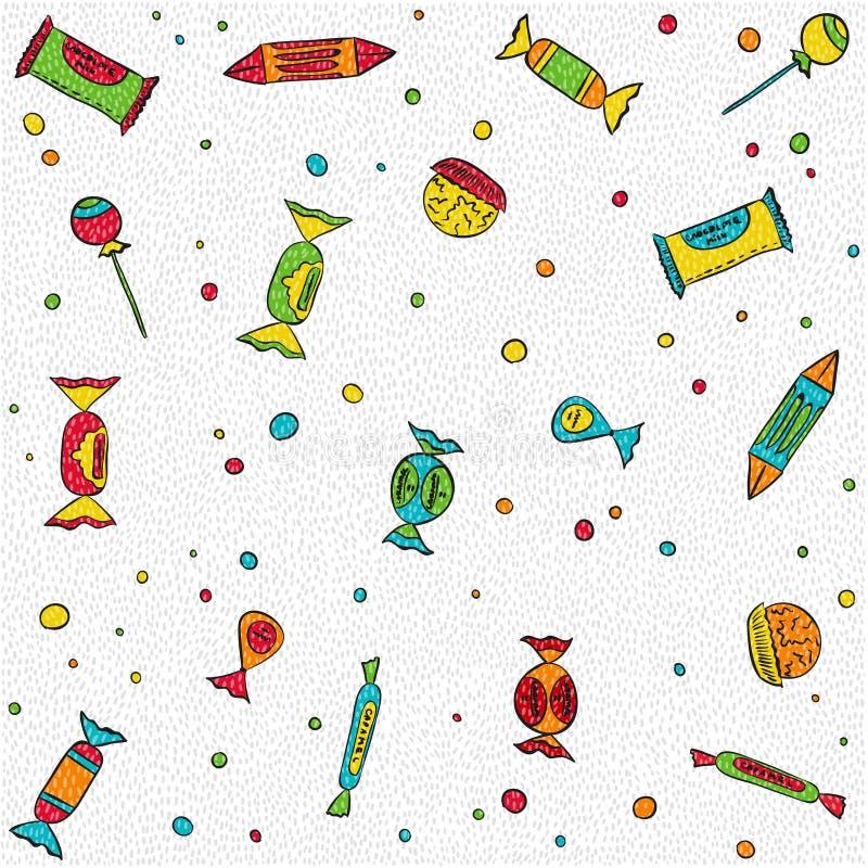 Modelo inconsútil con los caramelos y los dulces en blanco ilustración del vector
