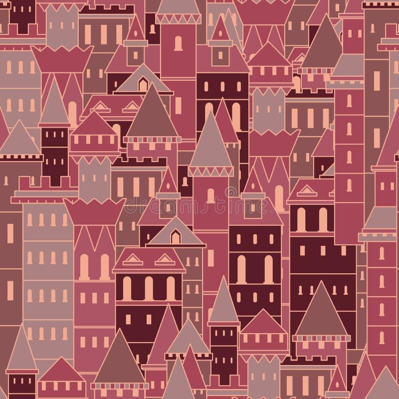 Modelo inconsútil con los castillos medievales de hadas Ejemplo dibujado mano colorida del vector del vintage libre illustration