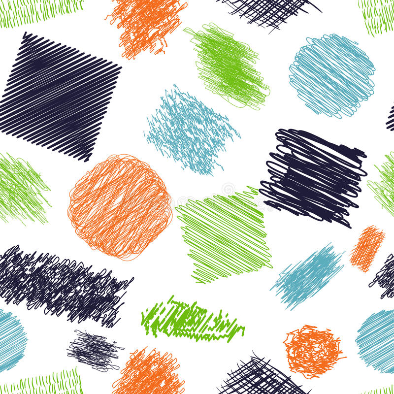 Modelo inconsútil con los cepillos del garabato La colección de tinta alinea, el sistema de texturas dibujadas mano, garabatos de ilustración del vector
