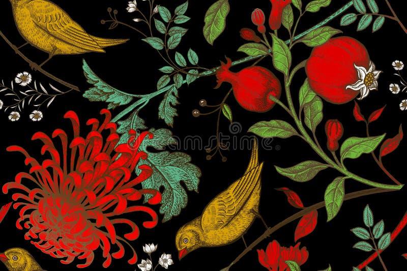 Modelo inconsútil con los chrysantemums, las granadas y los pájaros ilustración del vector