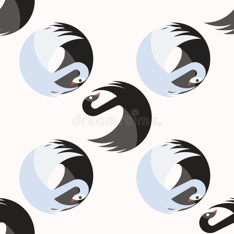 Modelo inconsútil con los cisnes negros y azules junto que dan vuelta alrededor alrededor ilustración del vector