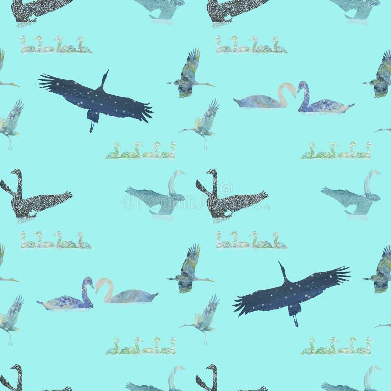 Modelo inconsútil con los cisnes y las cigüeñas exhaustos de la mano libre illustration