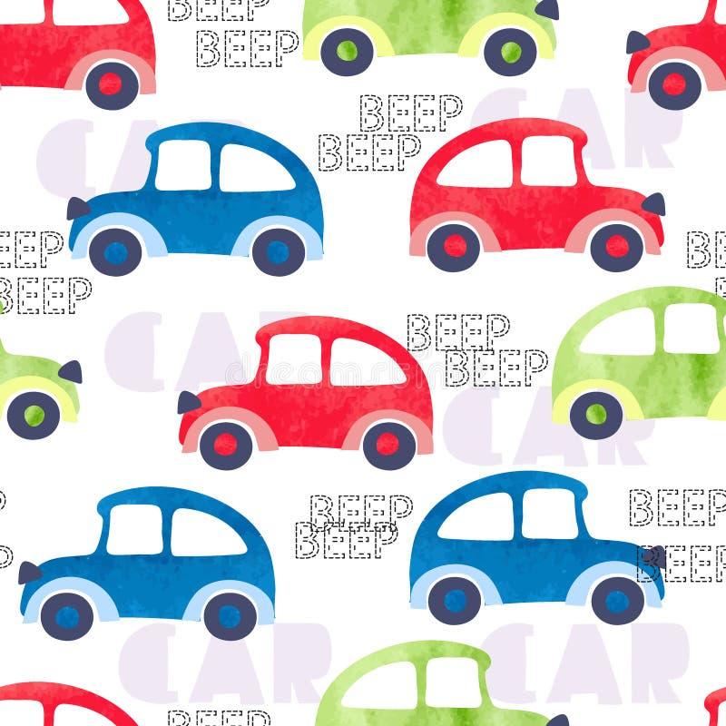 Modelo inconsútil con los coches coloridos de la acuarela ilustración del vector