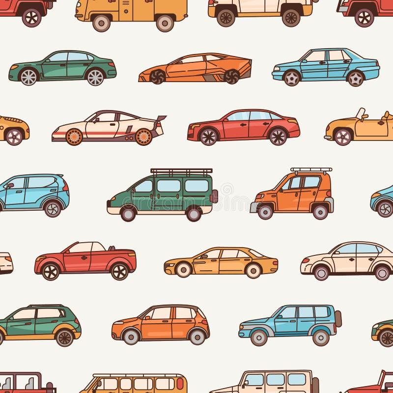 Modelo inconsútil con los coches de los diversos estilos de la configuración del cuerpo - cabriolé, sedán, recogida, ventana tras libre illustration