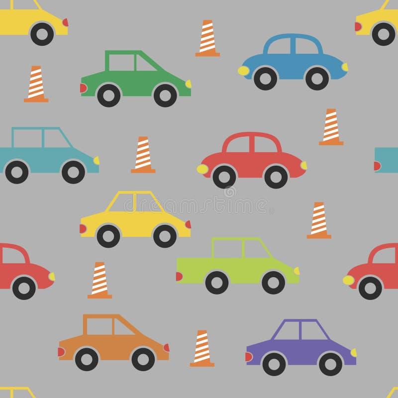Modelo inconsútil con los coches lindos divertidos del color libre illustration