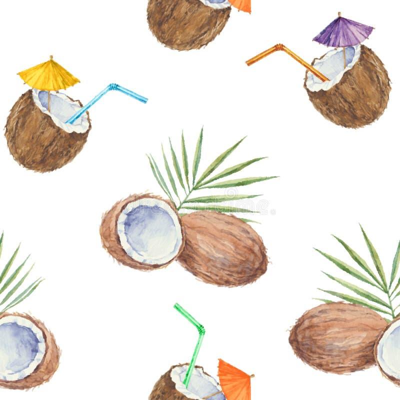 Modelo inconsútil con los cocos y el cóctel del coco, pintado adentro stock de ilustración