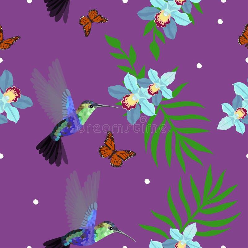 Modelo inconsútil con los colibríes, orquídeas, hojas de palma, mariposas de monarca El ejemplo del vector, se puede utilizar com ilustración del vector