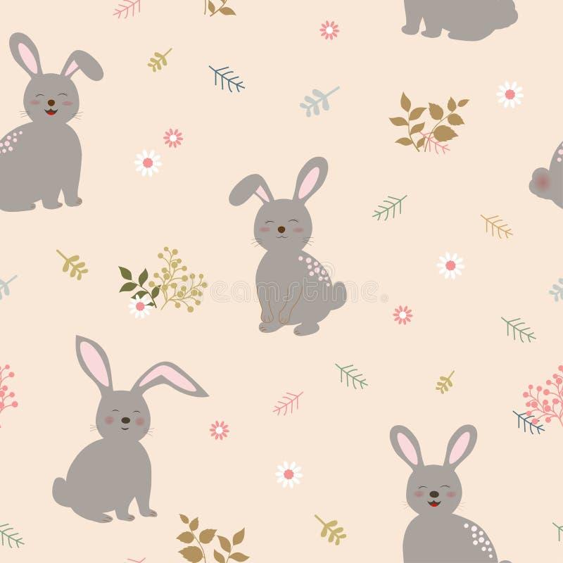 Modelo inconsútil con los conejos la cuadrilla en fondo floral lindo Perfeccione para el producto del niño, ropa, moda, tela, mat ilustración del vector