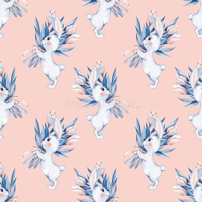 Modelo inconsútil con los conejos y las flores blancos de la historieta ilustración del vector
