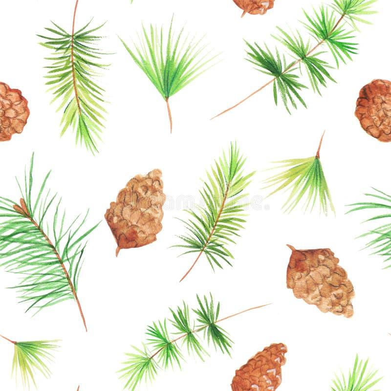 Modelo inconsútil con los conos del pino stock de ilustración