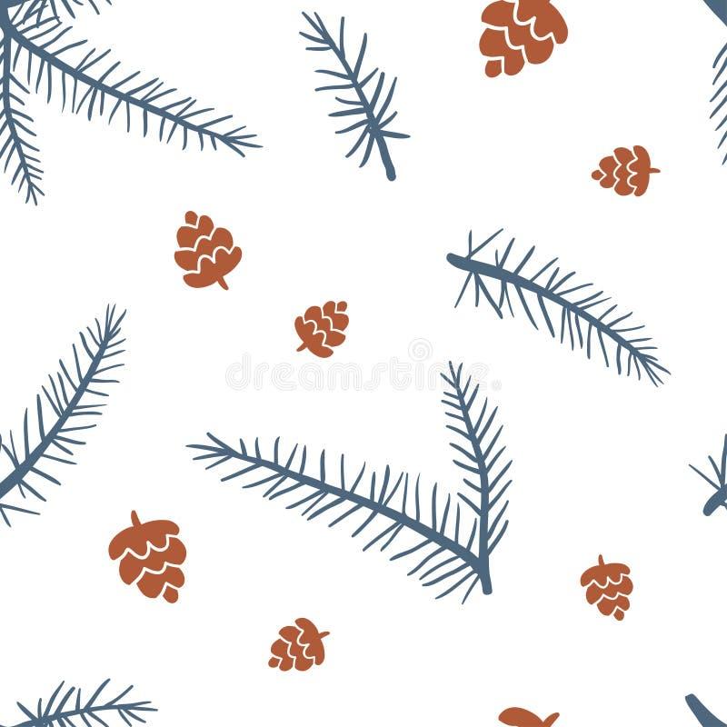 Modelo inconsútil con los conos y el árbol de la piel libre illustration