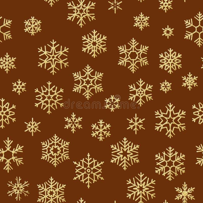 Modelo inconsútil con los copos de nieve de oro en el fondo rojo por días de fiesta de la Navidad o del Año Nuevo EPS 10 ilustración del vector